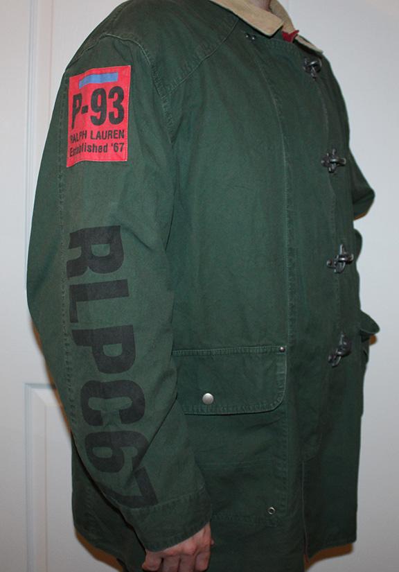 ralph lauren green coat black and grey polo