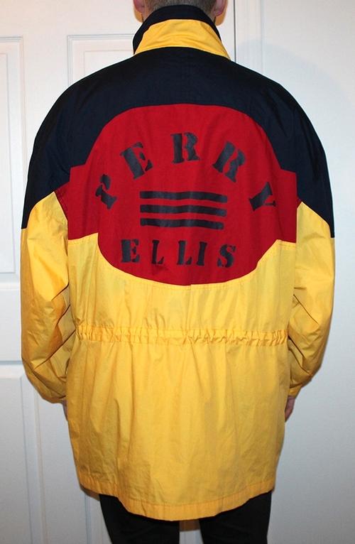 73345bd0a3 Vintage Perry Ellis Big Logo Colorful Long Coat (Size XXL) — Roots