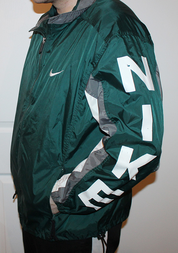 Vintage Nike Spell-Out Forest Green   Grey   White Windbreaker (Size L) —  Roots 95b3af234