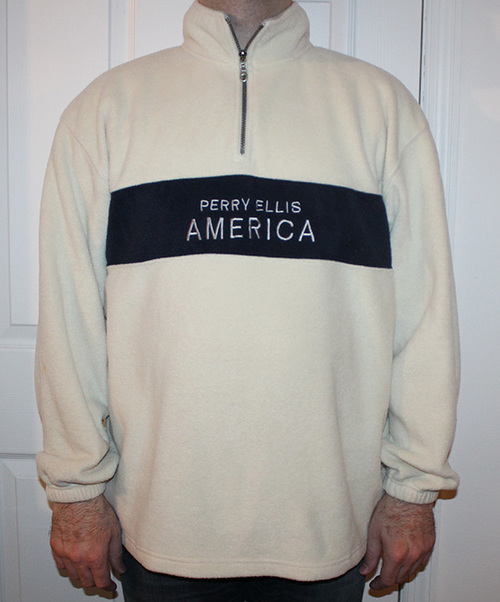 9dd428a229 Vintage Perry Ellis America White   Navy Fleece Spell-Out 1 4 Zip ...