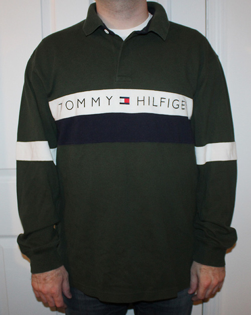 63b6578bb62 Vintage Tommy Hilfiger long sleeved forrest green and navy spell out rugby