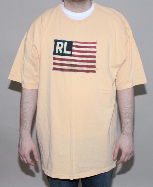1d493124e63 Vintage Polo Ralph Lauren RL Flag Logo Yellow T Shirt (Size XXLT ...