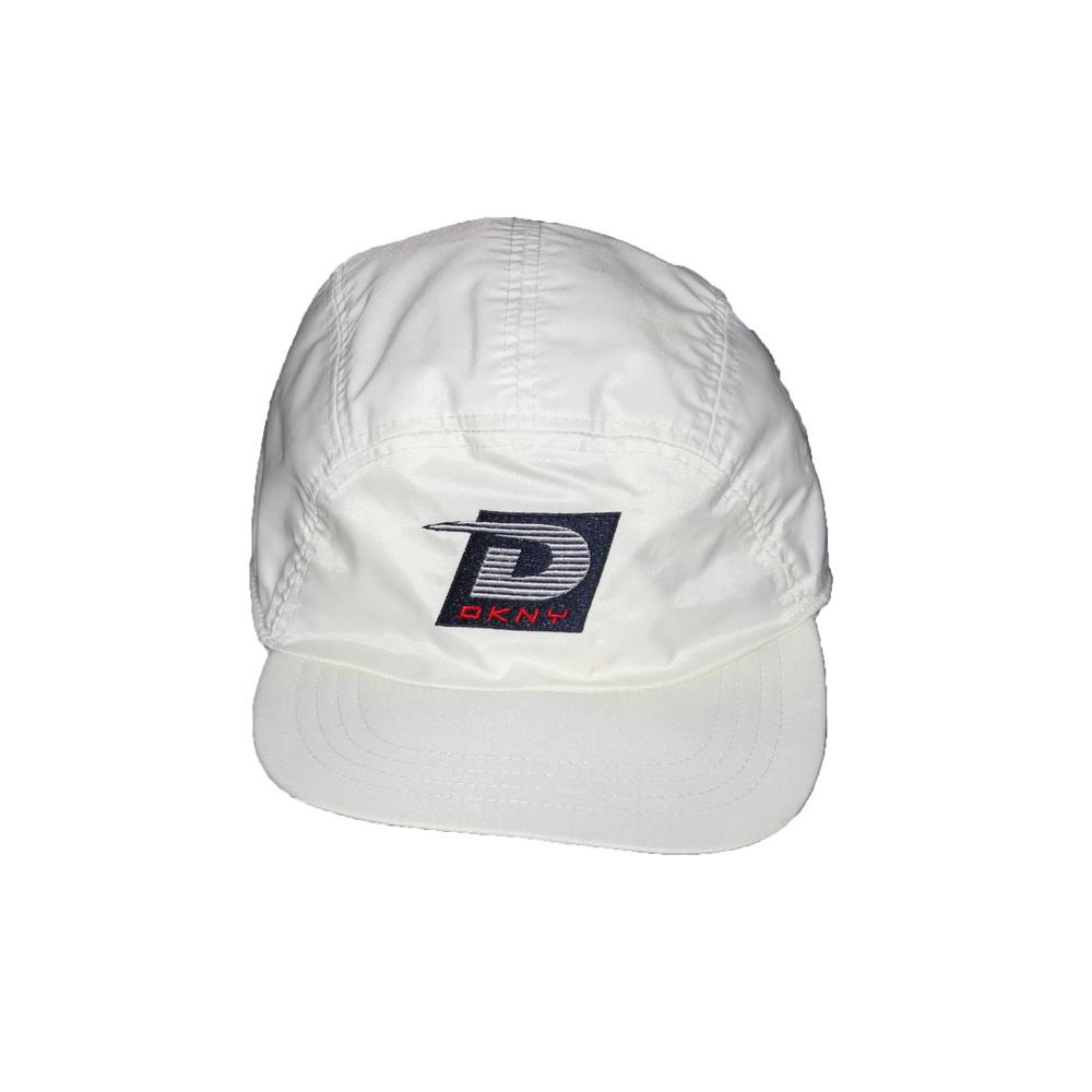 f2b729340c3 Vintage 90s DKNY Tech USA white 5 panel hat