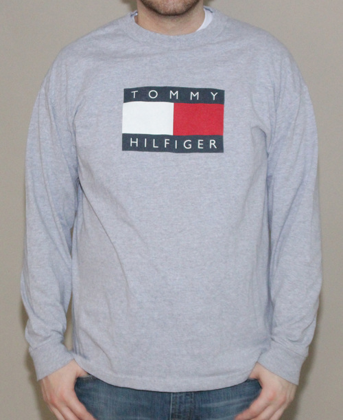 dc5aa201e Vintage Tommy Hilfiger Logo Heather Grey T Shirt (Size XL) — Roots