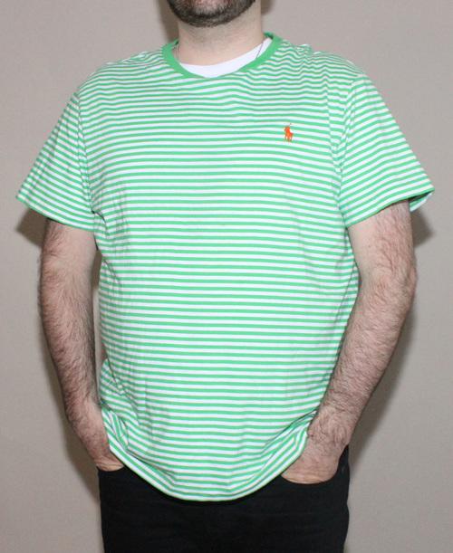 938a15918b0 Vintage Polo Ralph Lauren Green Striped T Shirt (Size XL) — Roots