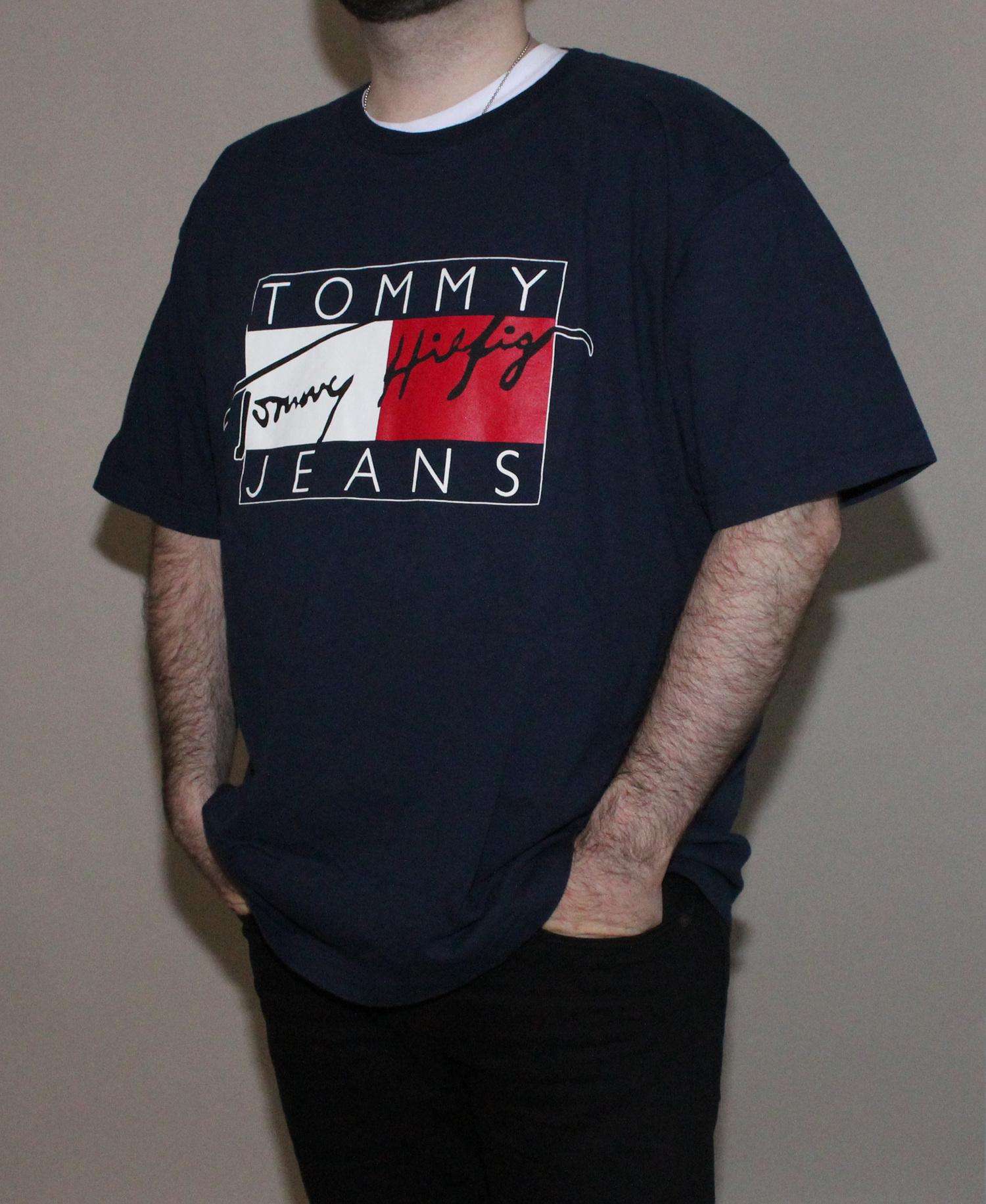0345b2da Vintage Tommy Hilfiger Tommy Jeans Navy Signature Logo T Shirt (Size XXL)