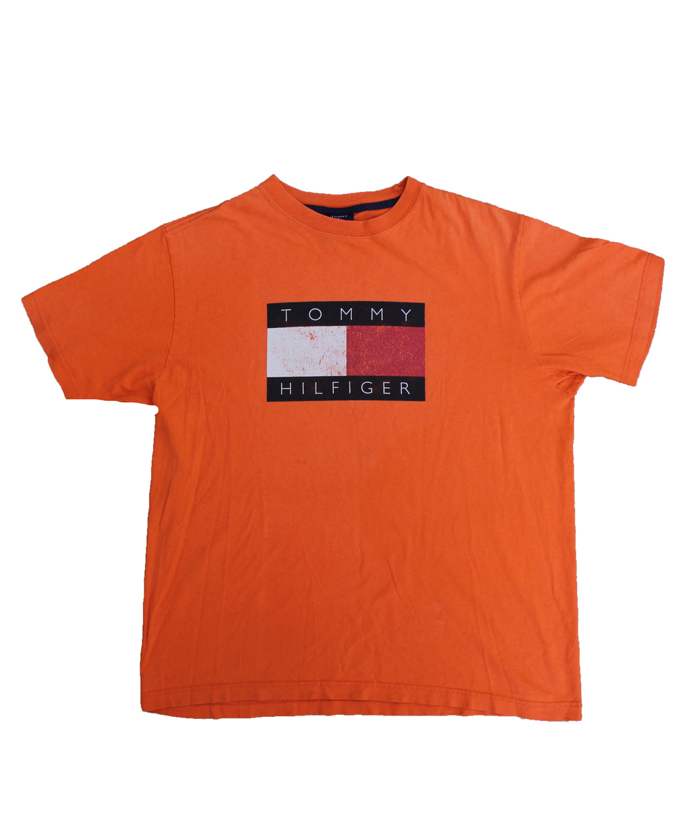 a7867e14 Vintage 90s Tommy Hilfiger orange logo t shirt.