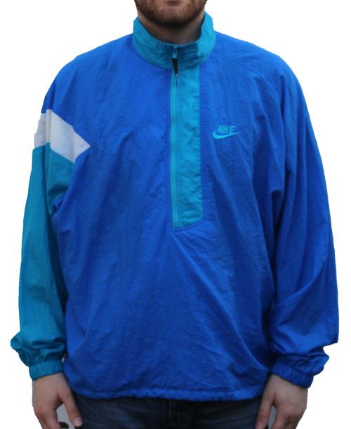 e107b4374f Vintage Nike 1 4 Zip Nylon Light Blue  Aqua Windbreaker (Size XL ...