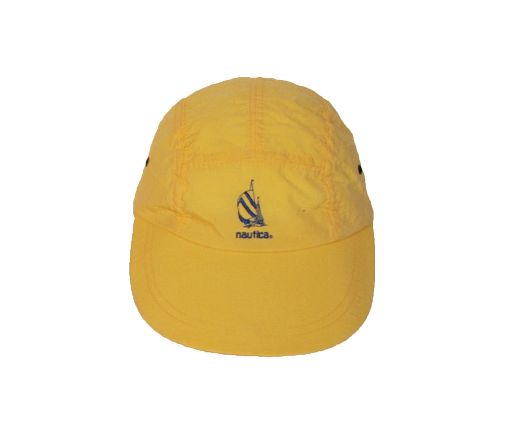 Vintage 90s Nautica Yellow and navy longbill 5 panel nylon hat dc6dcb8dc14a