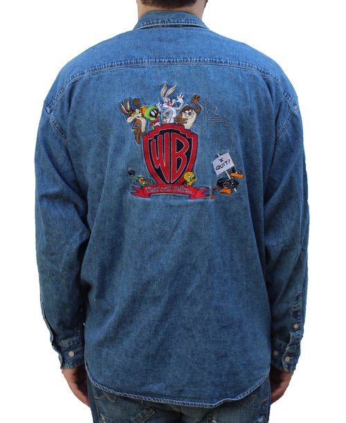 bc51087417f5 Vintage Warner Bros Embroidered Denim Button Down Shirt (Size XXL ...