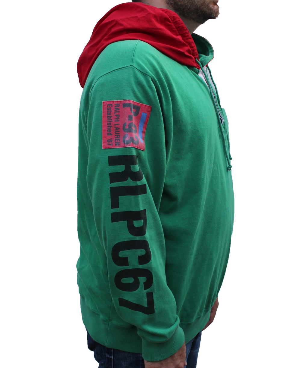 Vintage Polo RLPC67 Green / Red Hoodie (Size L) — Roots