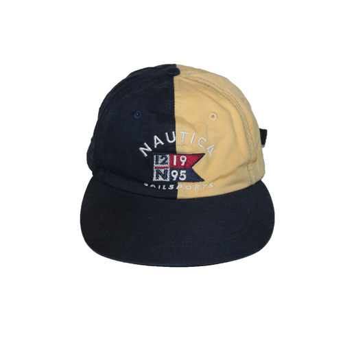 Vintage 90s Nautica Sailing yellow and navy split strap back hat 2ac085ba652