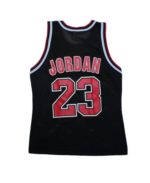 282685607 Vintage 90s Champion Chicago Bulls Michael Jordan black   red replica jersey