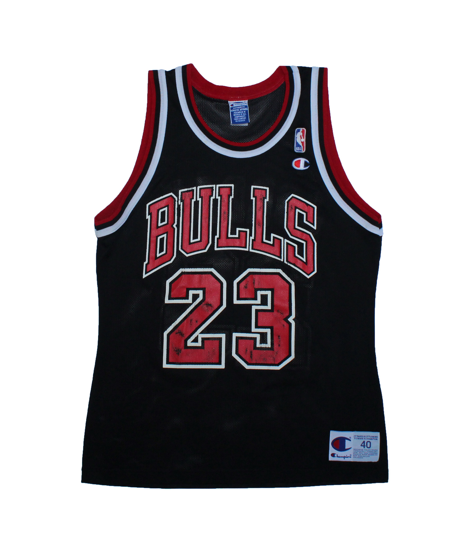 d51dcea6026 Vintage Champion Chicago Bulls Michael Jordan Black / Red Replica Jersey  (Size 40) — Roots