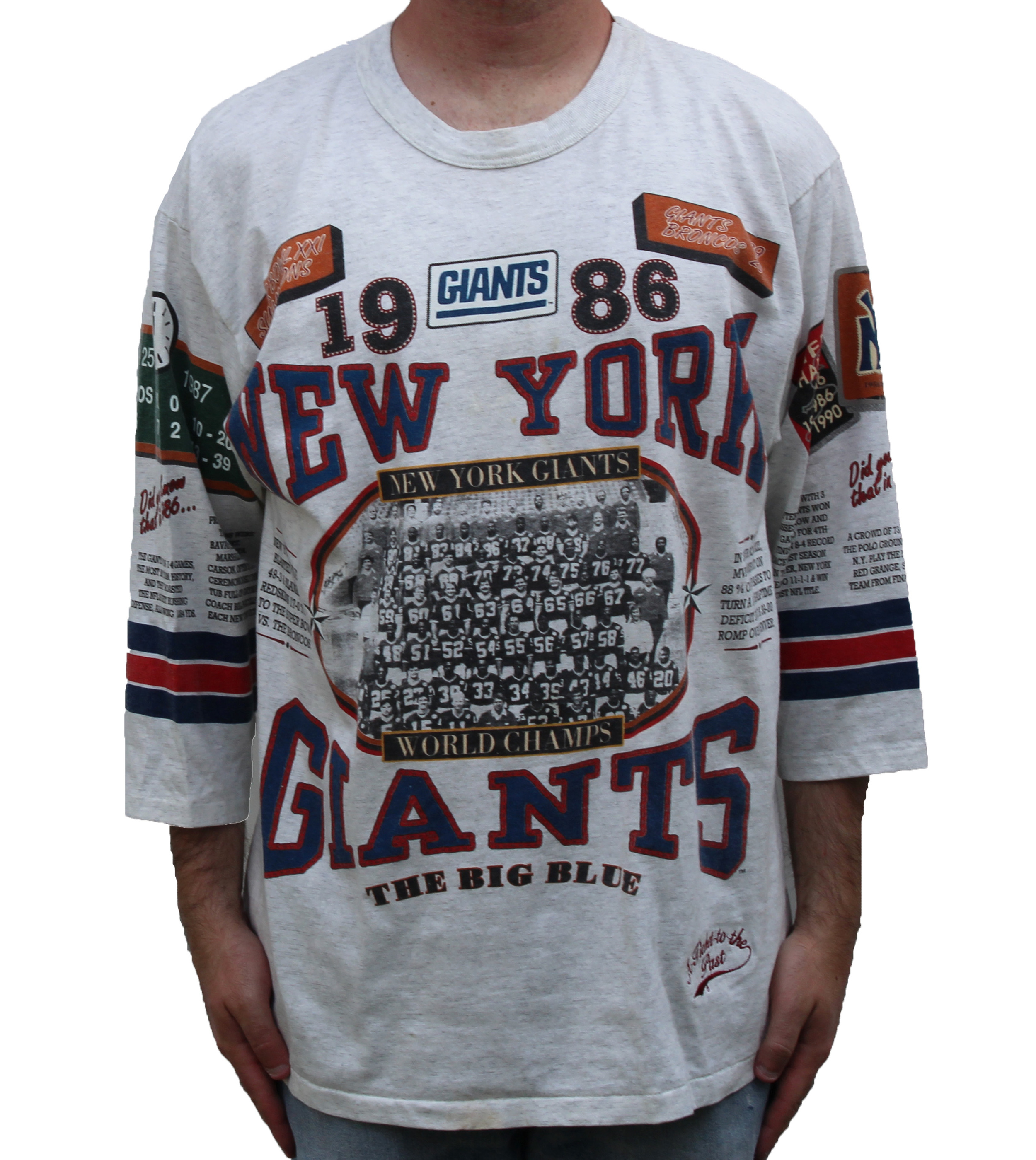 best value 92b57 d32ed Vintage Long Gone New York Giants Anniversary 3/4 Sleeve T Shirt (Size L) —  Roots