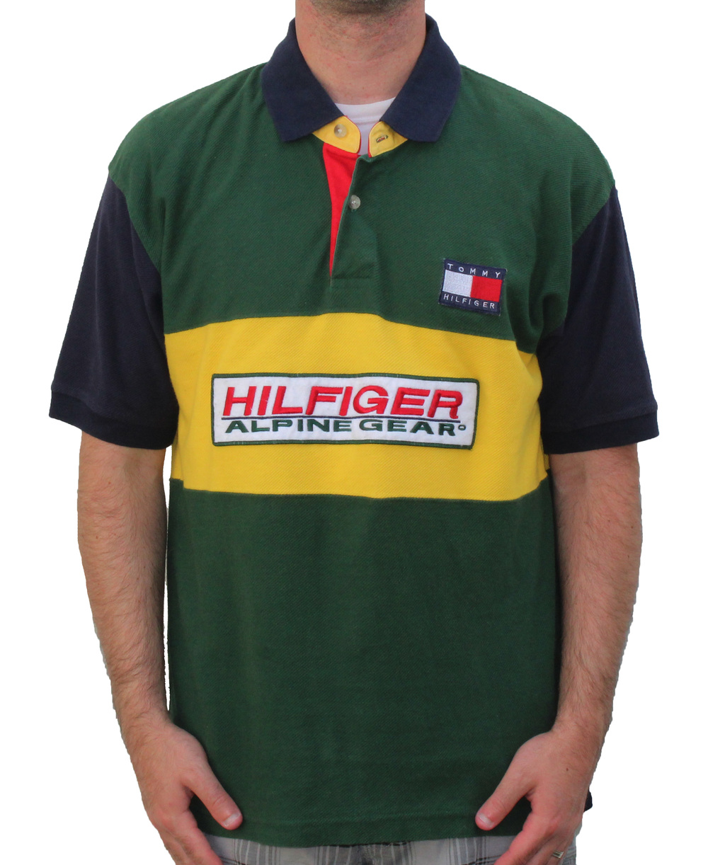 0a6186d52 Vintage 90s Tommy Hilfiger Alpine Gear green yellow rugby