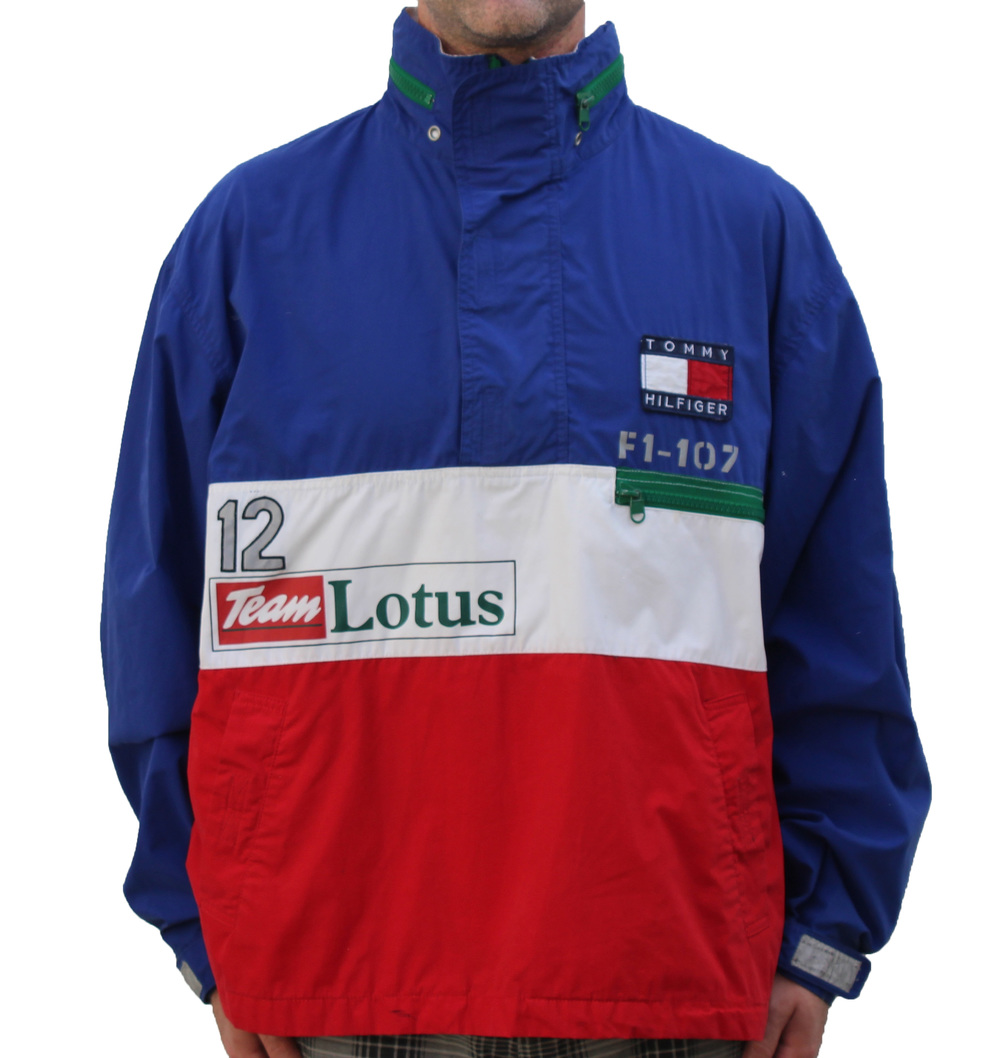 Vintage 90s Tommy Hilfiger Lotus F1 blue and red pullover jacket.