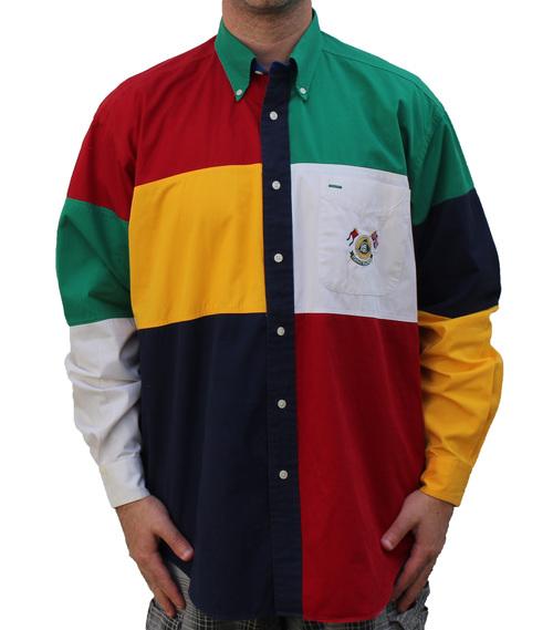 53e7df76a Vintage 1994 Tommy Hilfiger Lotus button down color block shirt
