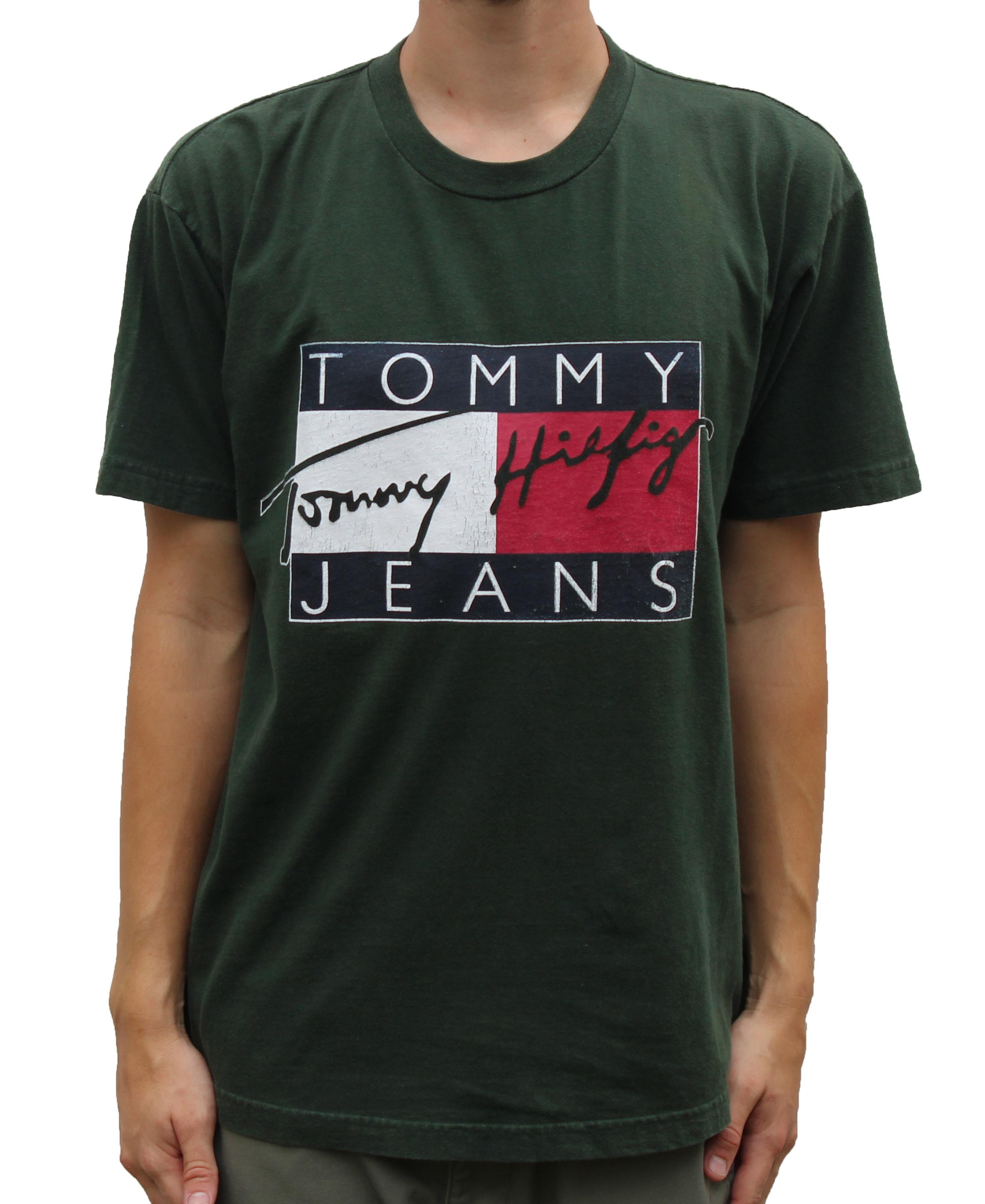 Luxus kaufen klassische Passform Einkaufen Vintage Tommy Hilfiger Tommy Jeans Signature Forest Green T Shirt (Size M)  — Roots