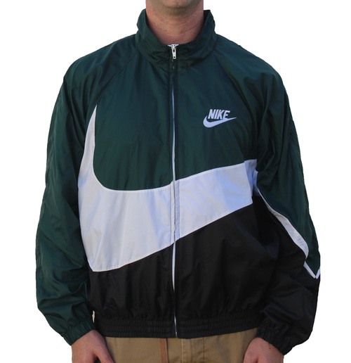 Vintage Nike Big Swoosh Green   Black Windbreaker (Size M) — Roots 2e467fc76