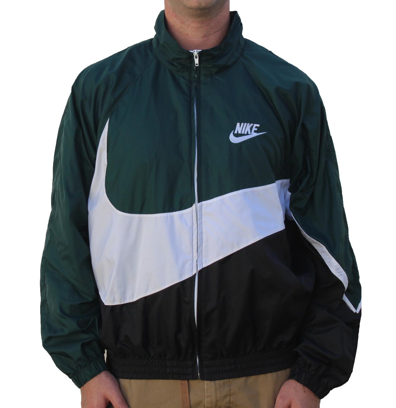 f2ec2ea278ee Vintage Nike Big Swoosh Green   Black Windbreaker (Size M) — Roots