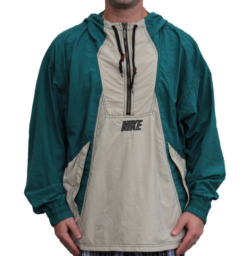 d6e3b75b3323 Vintage Nike Half Zip Green   Tan Big Swoosh Logo Windbreaker (Size ...