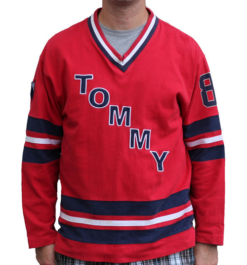 627f867eef7 Vintage Tommy Hilfiger 88 Red   Navy Hockey Jersey (Size Kids XL ...