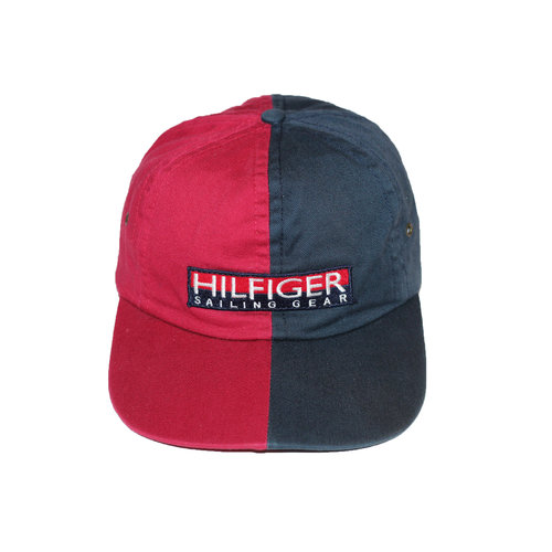 3fbdf549869c1 Vintage Tommy Hilfiger Sailing Gear split navy red snapback