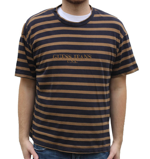 58bfcf75e2c82 Vintage Guess Jeans USA Navy   Brown Striped T Shirt (Size XL) — Roots