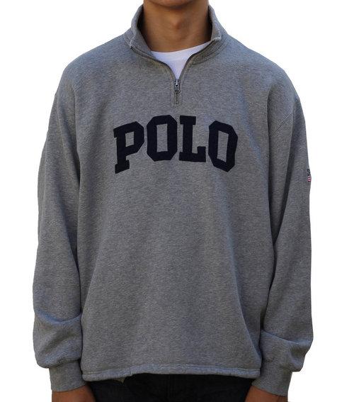 84d8b95881a Vintage Polo Ralph Lauren Grey   Navy 1 4 Zip Sweatshirt (Size M ...