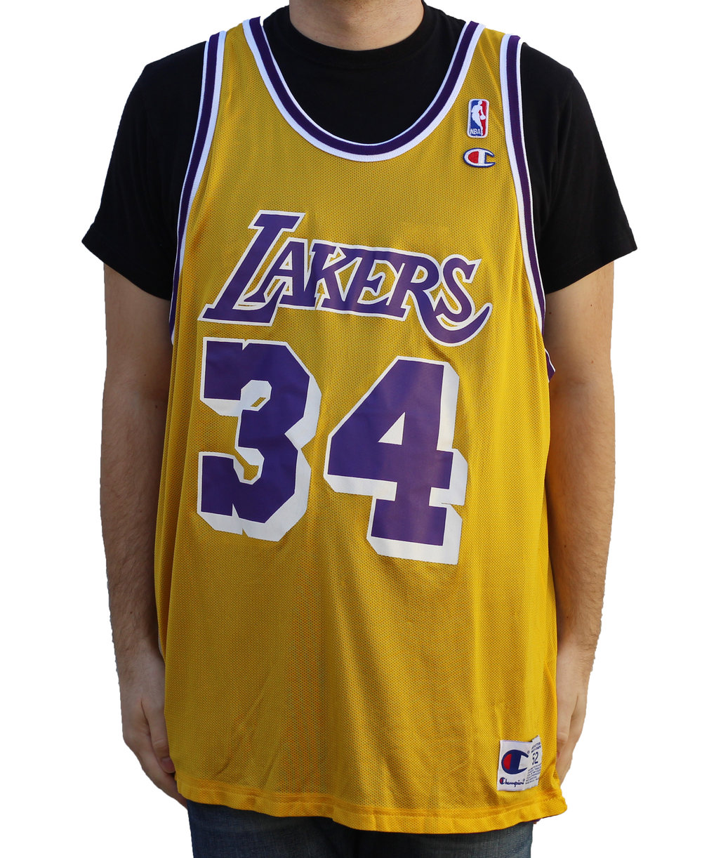 3d6253f2d8b Champion Los Angeles Lakers Reversible Shaq O`neal Jersey (Size 52) — Roots
