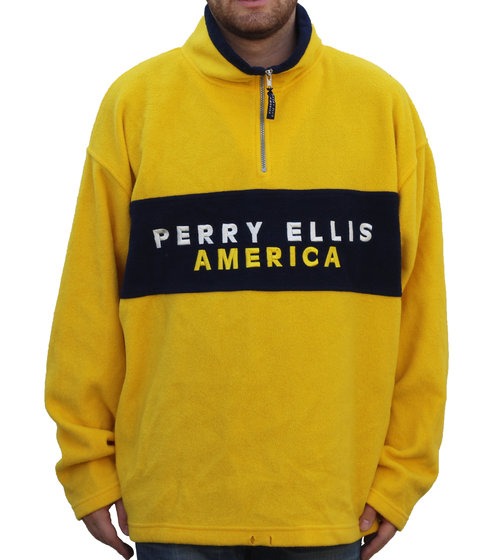 8097bf3605 Vintage Perry Ellis America Spell Out Yellow   Navy Fleece (Size XXL ...