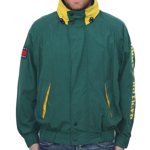 6f01e797 Vintage Tommy Hilfiger Green / Yellow Spell Out Windbreaker (Size M ...