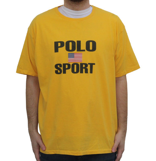 146fd3b98 ... (Size XL). Vintage 90s Polo Sport Ralph Lauren big spell out t shirt in  yellow and black