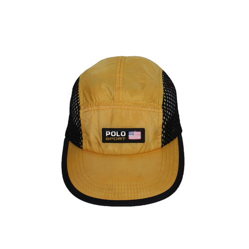 Vintage 90s Polo Sport Ralph lauren yellow and black mesh 5 panel hat. c08fb0c8016