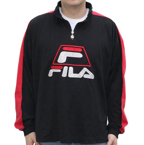 8e3c6843d4d6 Vintage Fila Monogram Black / Red 1/4 Zip Shirt (Size XXL) — Roots