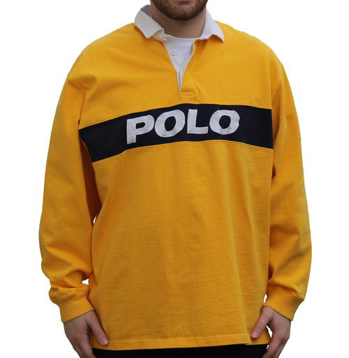 9592f9a9e33 Vintage Polo Ralph Lauren Yellow / Navy L/S Rugby (Size XL) — Roots