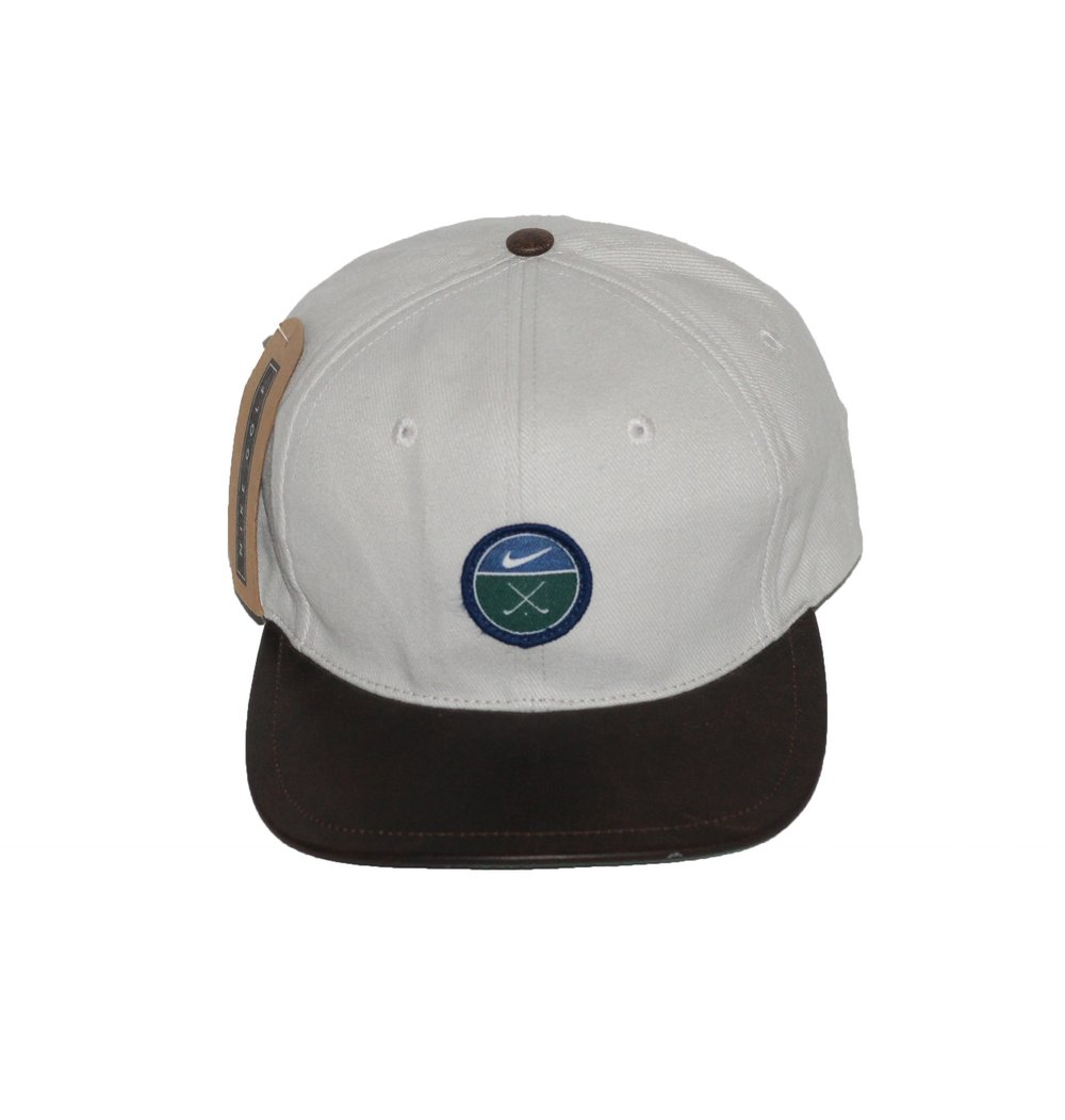 442cddc605baa ... clearance vintage 90s nike golf leather brim strap back hat 4e7a9 298d0