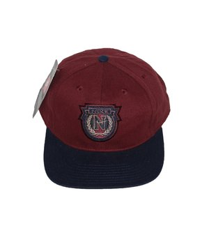 1c585df3a91 Vintage 90s Nike Crest Logo burgundy and navy fitted hat