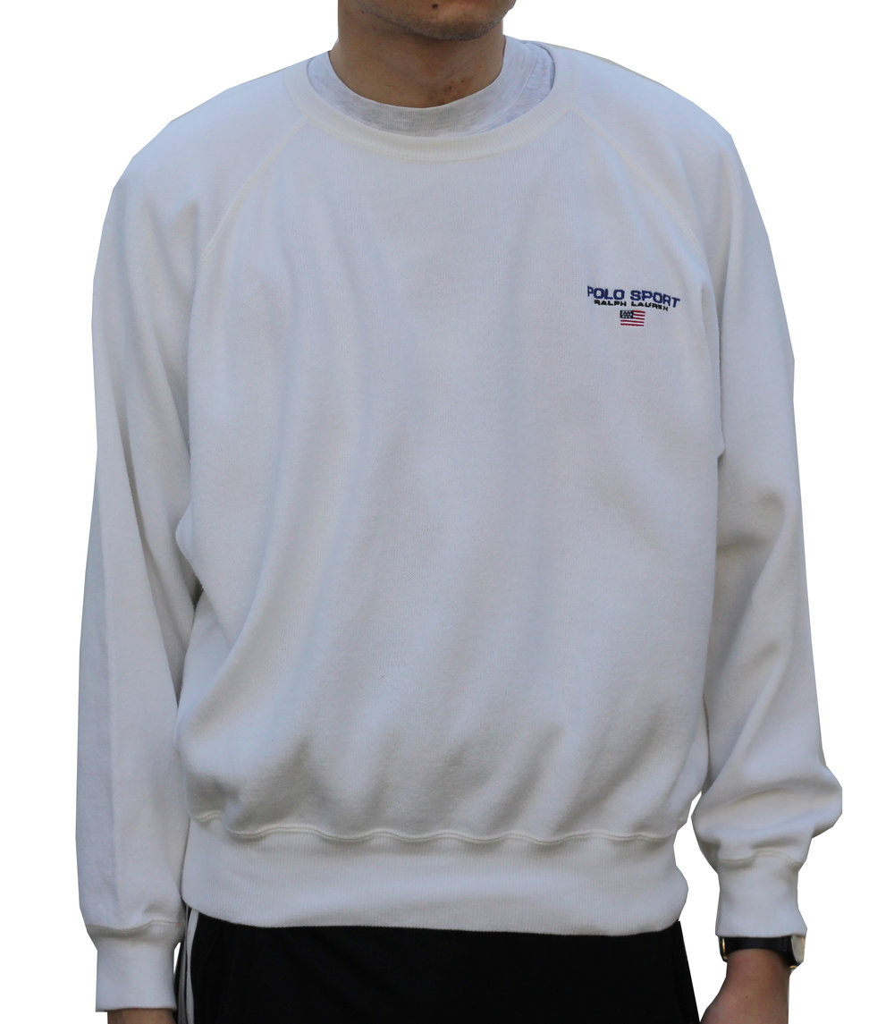 59395063114 ... buy vintage polo sport white crew neck sweatshirt size l fits smaller. vintage  90s polo
