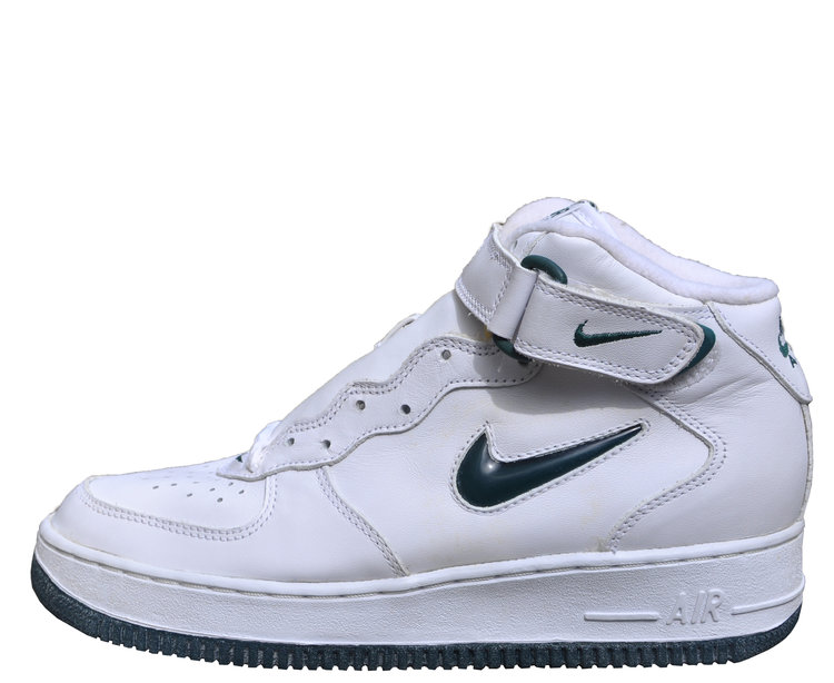 detailed look a94be 56583 nike air force 1 ones 1997 mid sc white deep forest