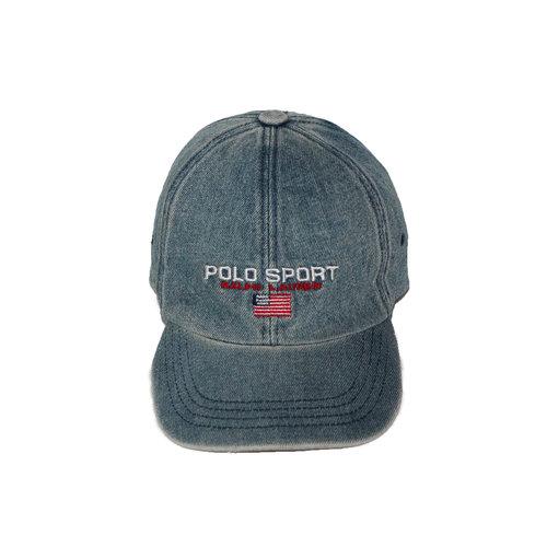 Vintage Polo Sport Ralph Lauren Denim Strap Back Hat — Roots 98a35ea9699