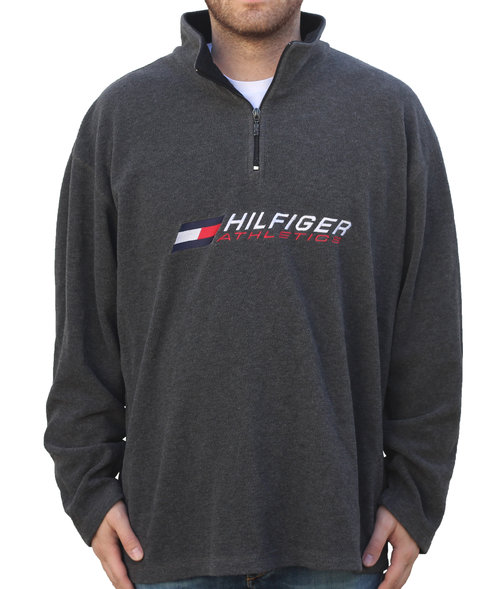179911f056e38 Vintage Tommy Hilfiger Athletics Grey 1 4 Zip Fleece (Size XXL) — Roots