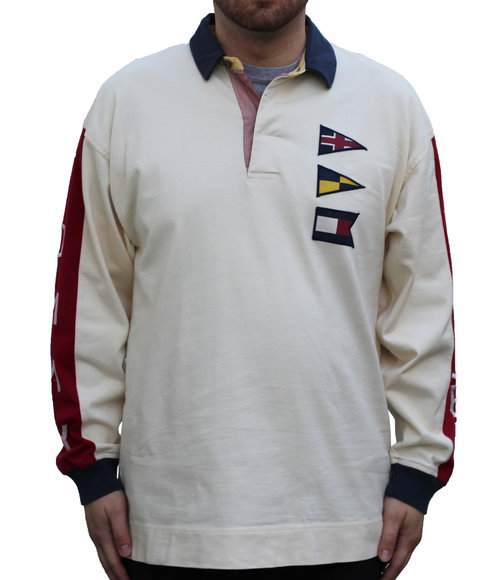 bc776e5314f Vintage Tommy Hilfiger Spell-out Flag L/S Rugby (Size L) — Roots