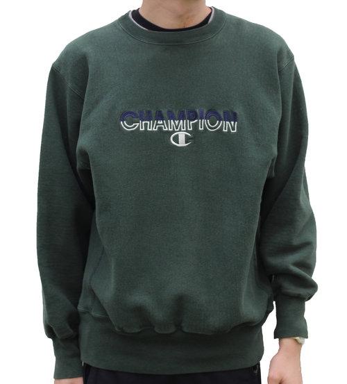a3f9ec21fb7f Vintage Champion Green / Navy Spell Out Reverse Weave Sweatshirt ...