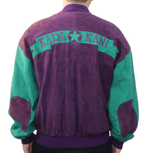 Preferred Vintage Karl Kani Green / Purple Suede Jacket (Size XL) — Roots VF24
