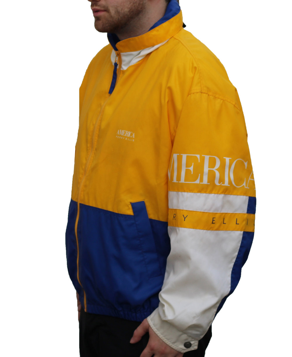 7933e9859d Vintage Perry Ellis America Yellow   Blue Windbreaker (Size L) — Roots