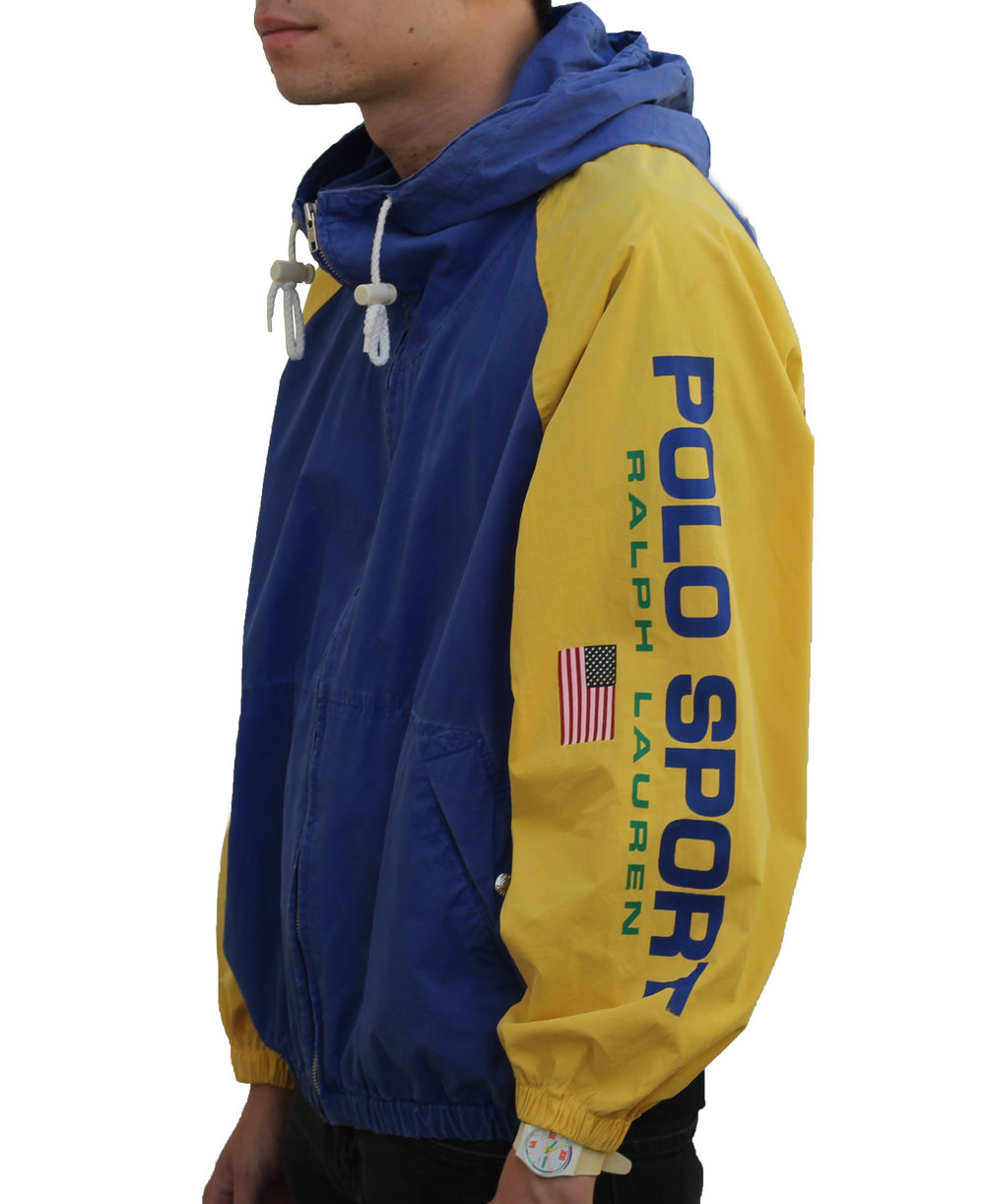 Vintage 90s Polo Sport Ralph Lauren blue and yellow spell out jacket