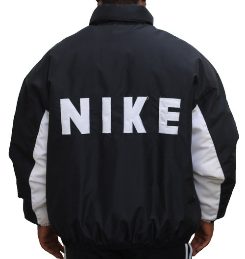 927d10440451 Vintage Nike Black   White Spell Out Winter Coat (Size XL) — Roots