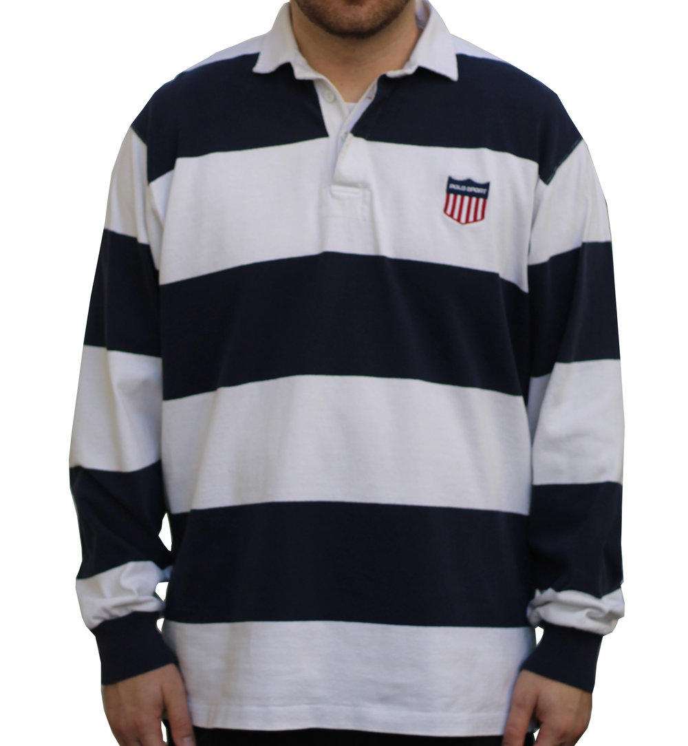 f354f8899 store ralph lauren polo sport rugby jersey longsleeve 1c1b7 5991c  purchase vintage  polo sport k swiss white navy striped rugby size l. vintage 90s polo